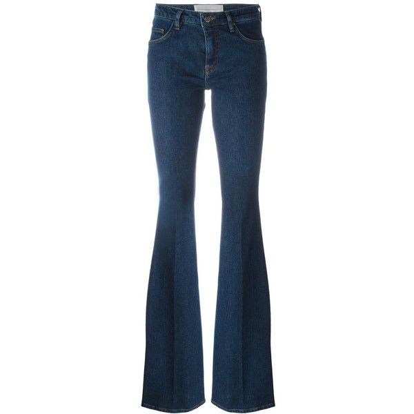 Victoria Victoria Beckham stretch flared jeans (2.265 NOK) ❤ liked on Polyvore featuring jeans, blue, stretchy jeans, blue jeans, stretch jeans, super stretch jeans and stretch flare jeans