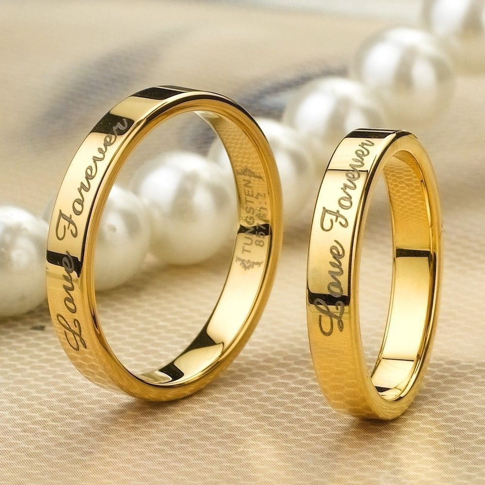 Love Forever Gold Tungsten Lover Rings For Couples Price For A Pair Couple Wedding Rings Wedding Rings Big Wedding Rings