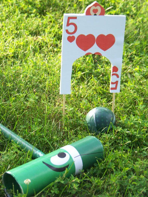DIY alice in wonderland flamingo croquet set...during bridal party photos/2hr outdoor cocktail hr/tea party/croquet games...yeah!