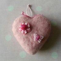 Blush Pink Felt Heart Hanging Decoration
