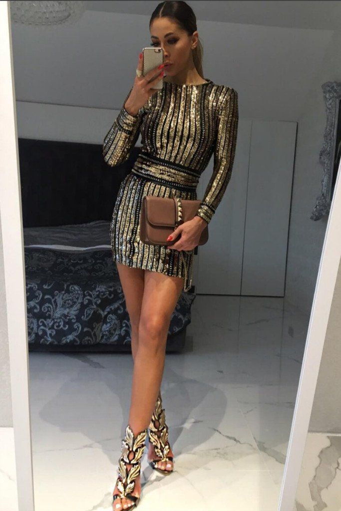 aab73ccc498 Honey Couture ANICE Black Gold Long Sleeve Sequin Belt Rope Dress Australian  Online Store One Honey Boutique AfterPay ZipPay