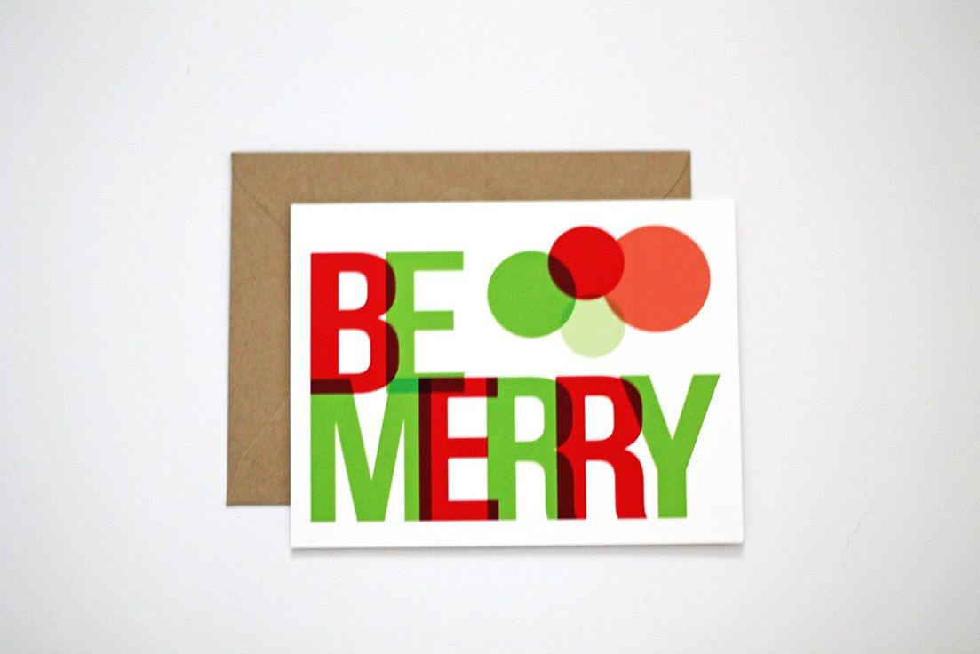 This Unique Holiday Card Features A Modern Design With Overlapping