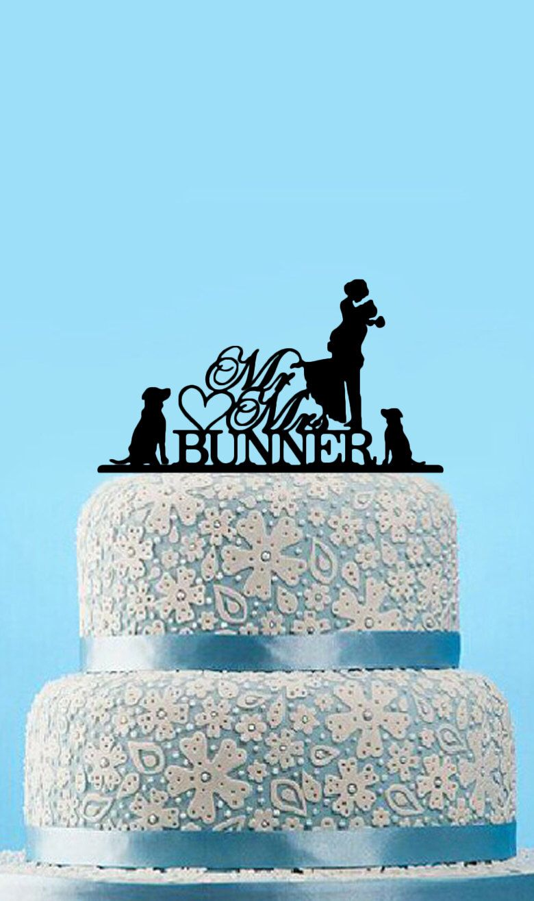 Mr and mrs wedding cake topper with dogsilhouette cake topper with