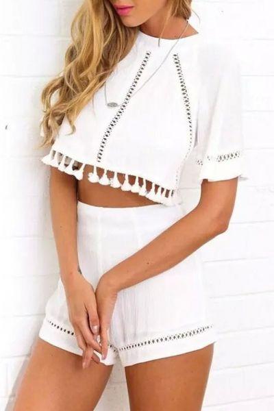 be1208d9c0d0 Cape Crop Top Lace Trim Shorts Matching Set
