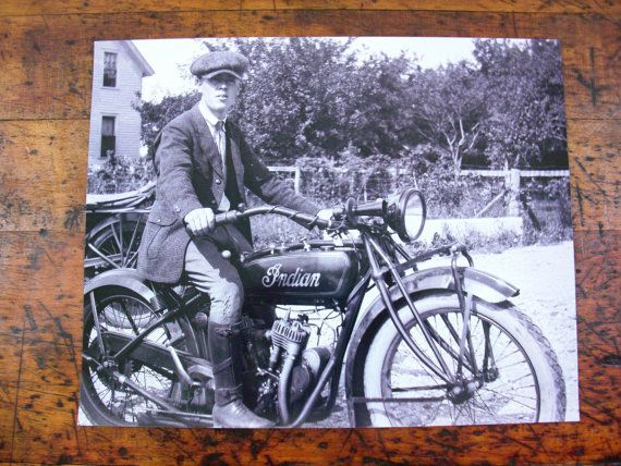 Vintage Indian Motorcycle Photo Framed Motorcycle Photo 1920s