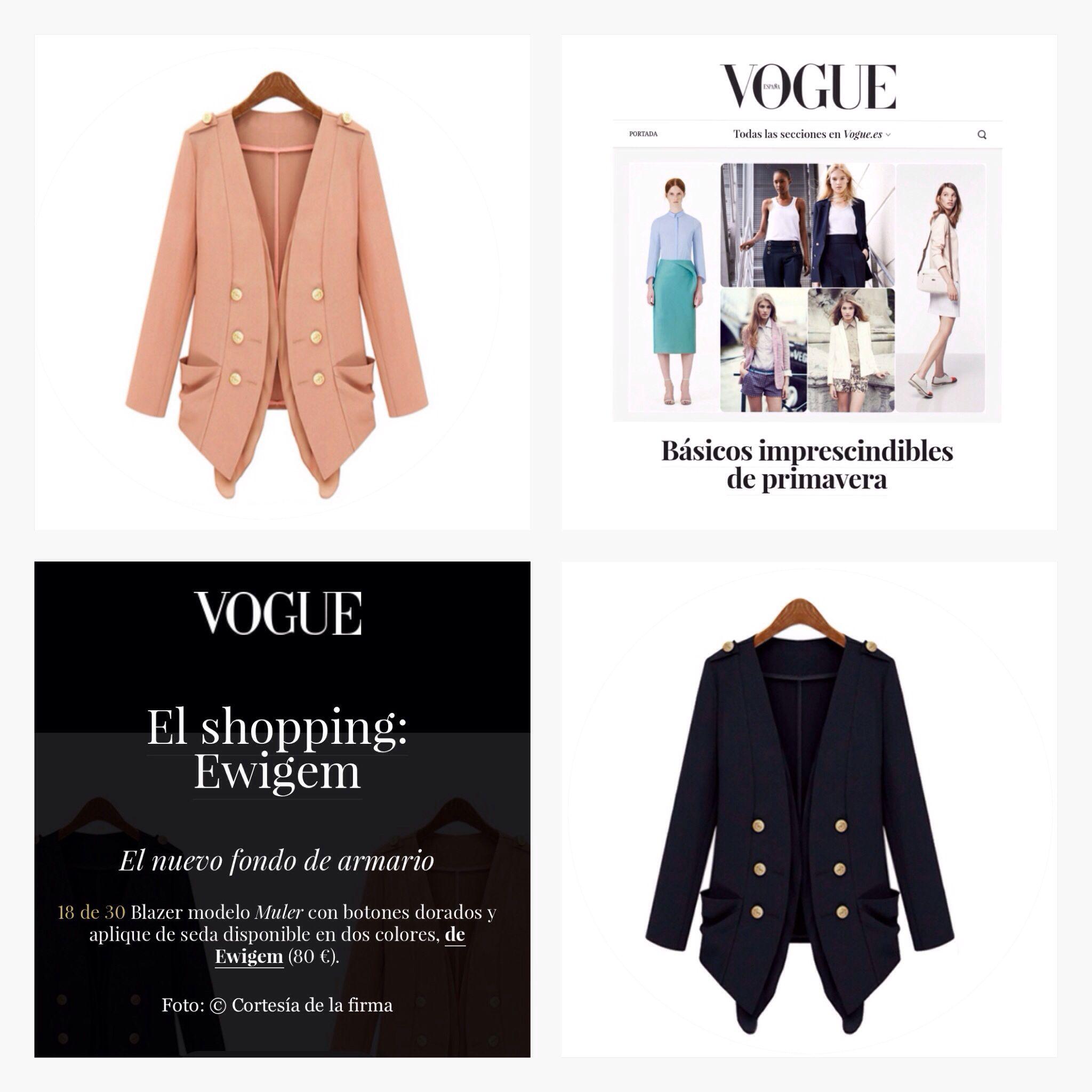 Básicos imprescindibles de primavera. VOGUE vuelve a recomendar nuestra blazer Muler como básico imprescindible.  http://www.vogue.es/moda/dress-for-less/galerias/basicos-imprescindibles-de-primavera/10790/image/844187