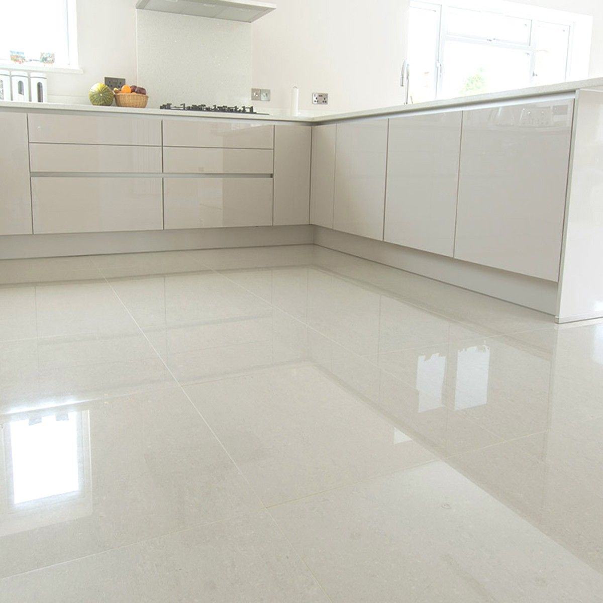 super polished ivory porcelain floor tile is a very contemporary ivory tile does not require sealing - Large White Kitchen Floor Tiles