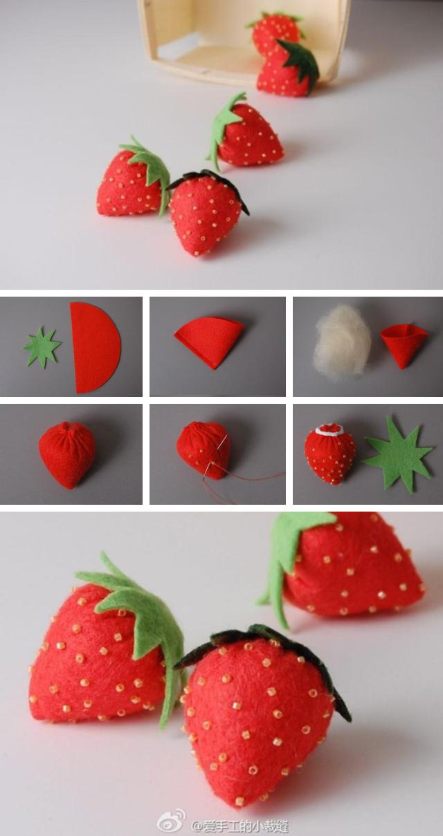 f50e78145 9 projetos para a casa usando feltro | Kendin yap | DIY, Strawberry ...