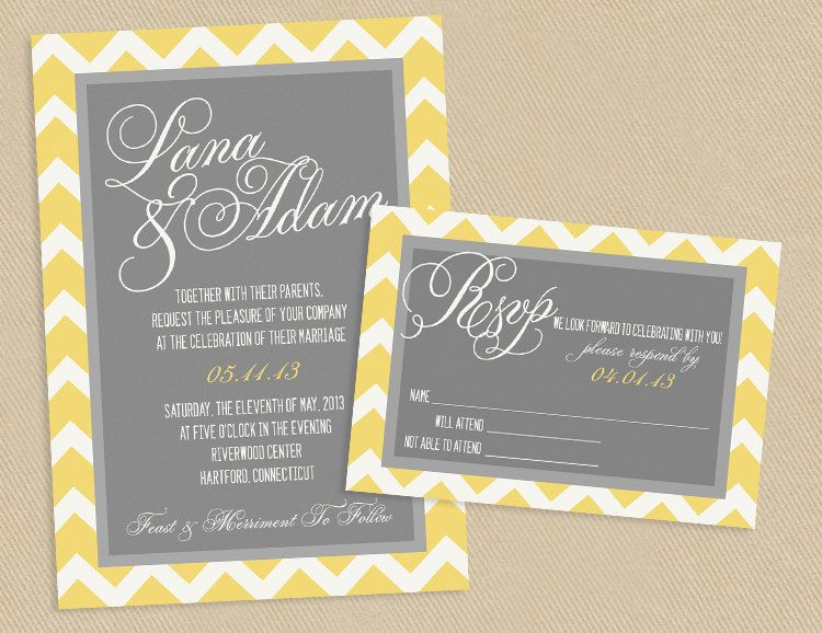 Printable wedding invite and rsvp invitation set yellow and grey chevron script calligraphy names