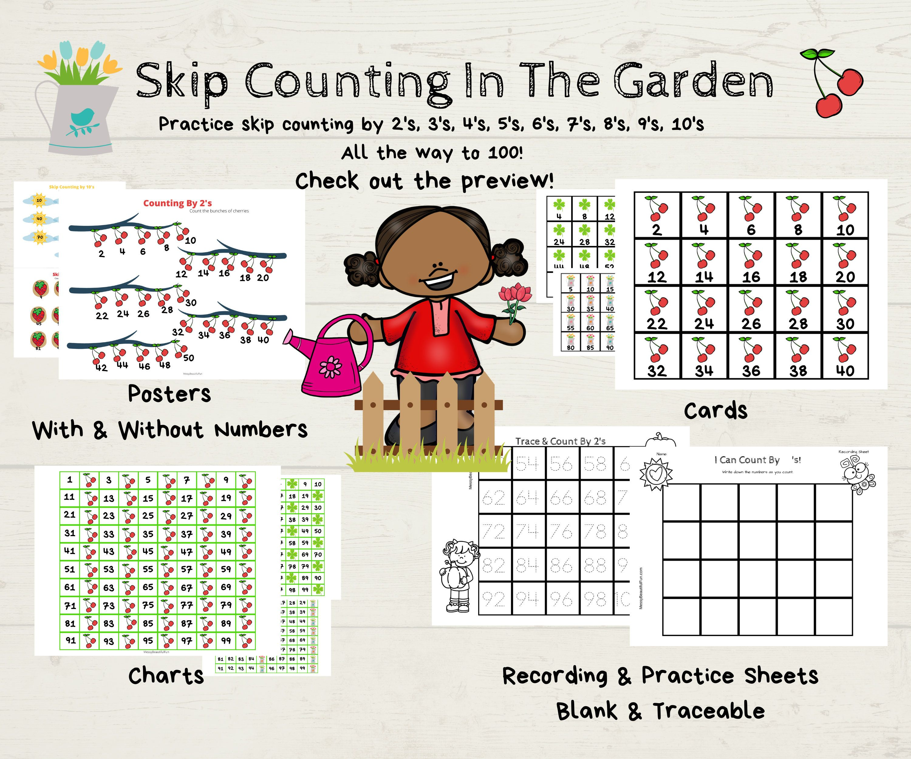 Skip Counting To 100 In The Garden Printable Unit