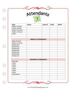The Wedding Planner Attendants Worksheet Has Room For Names And