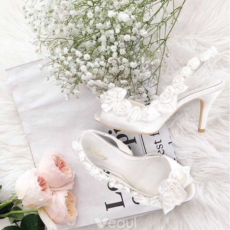 Piekne Kosc Sloniowa Buty Slubne 2018 Skorzany Klamra Kwiat 8 Cm Szpilki Peep Toe Slub Wysokie Obcasy Wedding High Heels Ivory Wedding Shoes Elegant Wedding Shoes