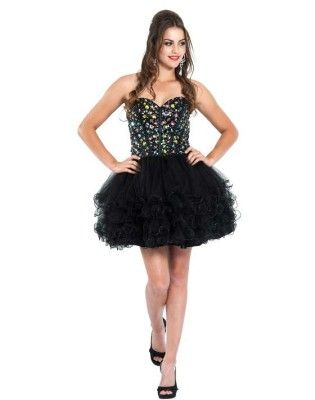 Short Black Puffy Tutu Corset Prom Dresses Beaded Corset Poofy