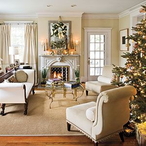 """Plan Christmas decorations to work with your existing decor, even if that means using unexpected colors like cream and beige."" Southern Living"