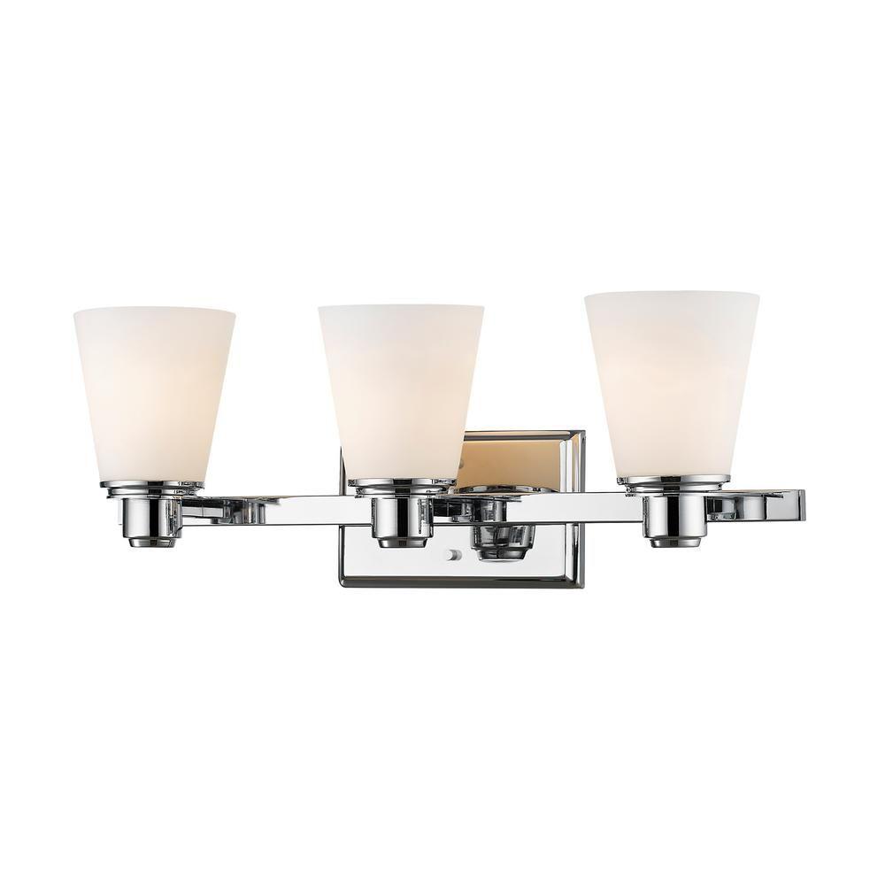 Photo of Filament Design Mariner 3-Light Chrome Bath Light with Matte Opal Glass Shade-HD-TE67033 – The Home Depot