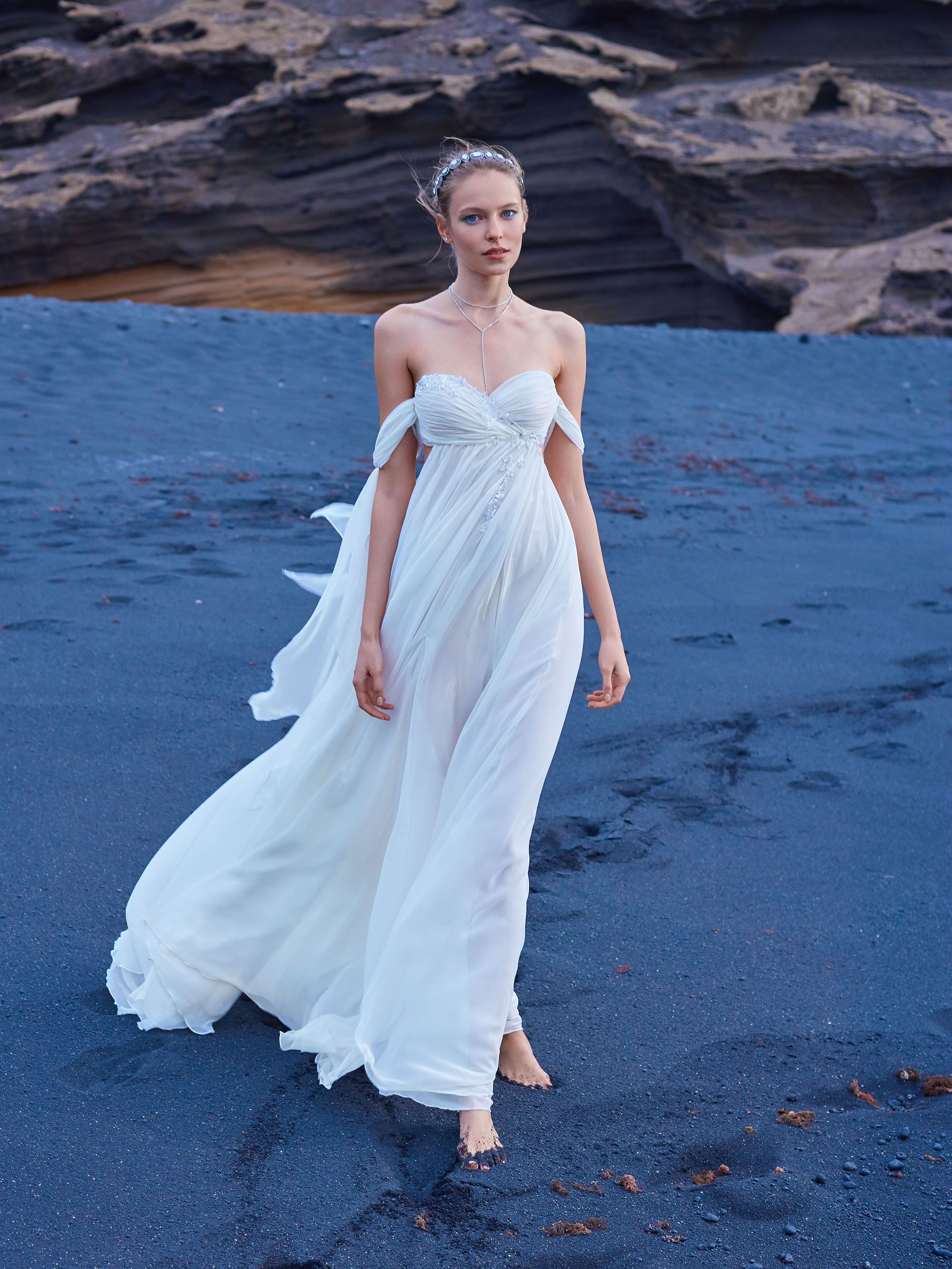 Gala from collection no is a ethereal chiffon wedding dress