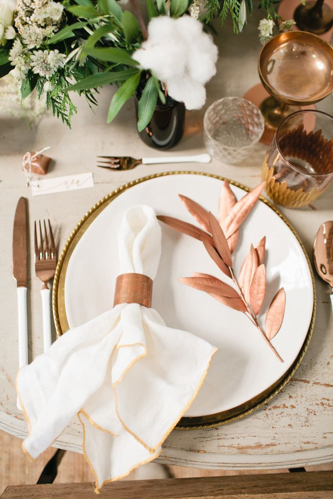 A Christmas Table Copper And Cotton Rose Gold Table Copper Wedding Decor Rose Gold Decor