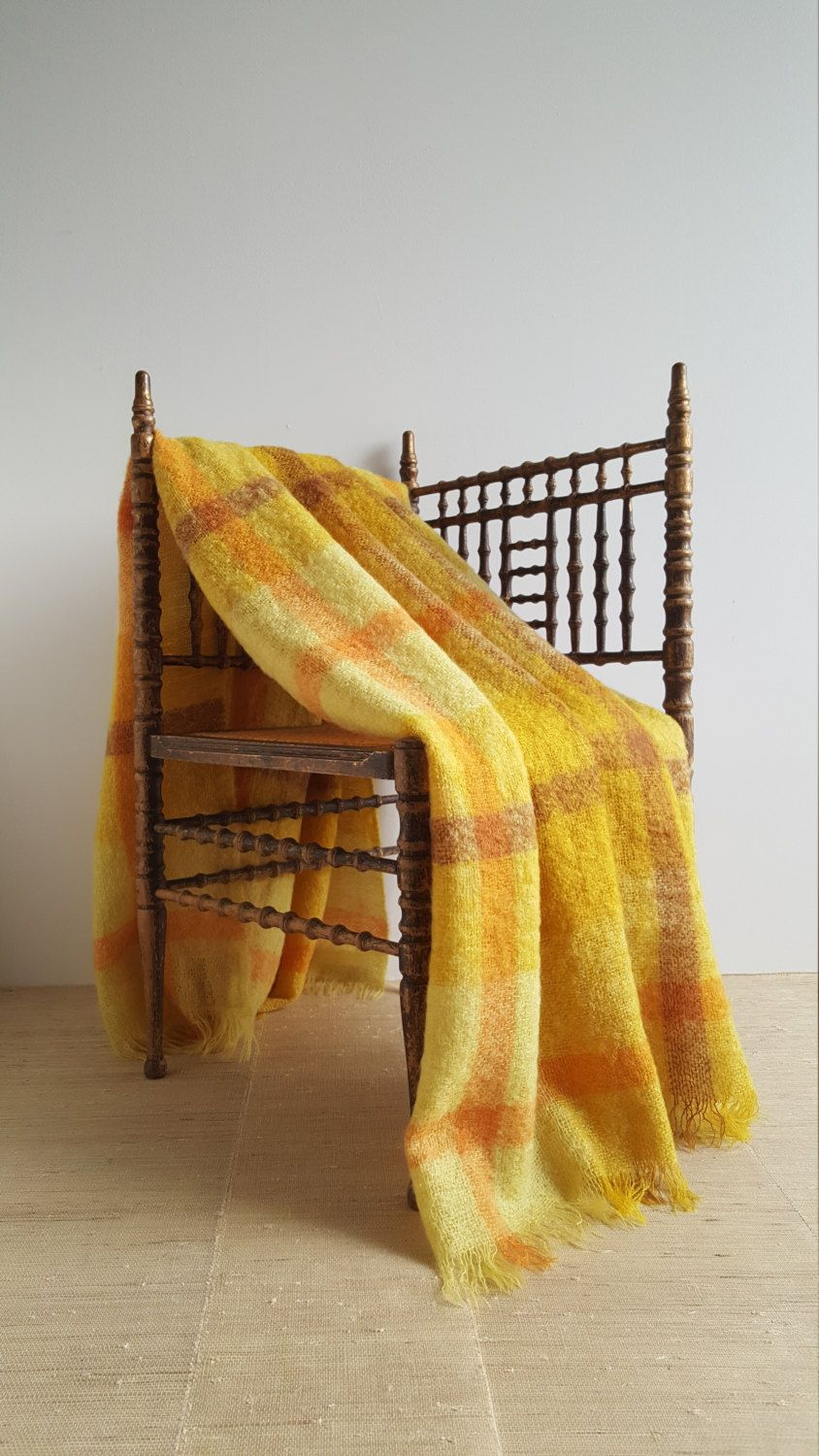Vintage 1960s Golden Plaid Mohair Throw Or Camp Blanket With Fringe Sunny Yellow Gold Orange Rust Light Weight Mohair Camping Blanket Blanket Mohair Throw