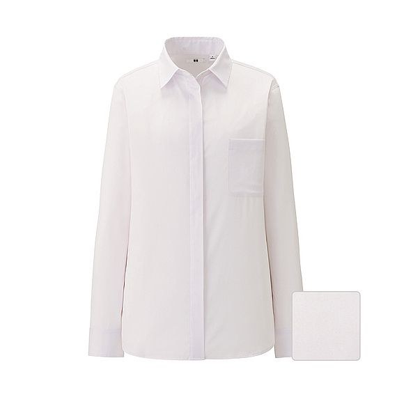 WOMEN Stretch Broadcloth Fly Front Long Sleeve Shirt