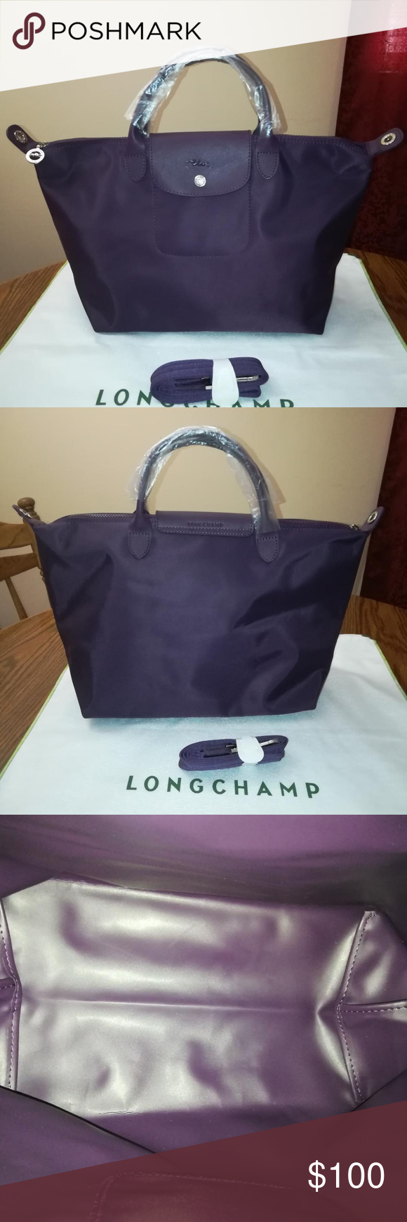 a428252973d9 Longchamp Le Pliage NEO Medium Bilberry EUC Longchamp Le Pliage NEO  Short-Top Handle Medium Made in France Silver Tone Hardware Measures   L17.75 x H10.5 x ...