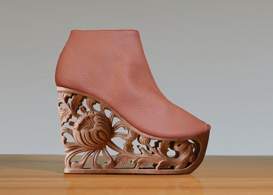 bc158a138493 Beautifully Detailed Wooden Heels Carved Using Ancient Vietnamese Pagoda  Techniques
