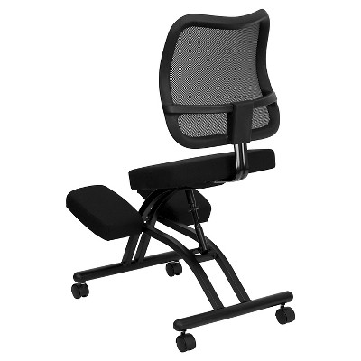 Mobile Ergonomic Kneeling Chair with Black Curved Mesh Back and Fabric Seat - Flash Furniture