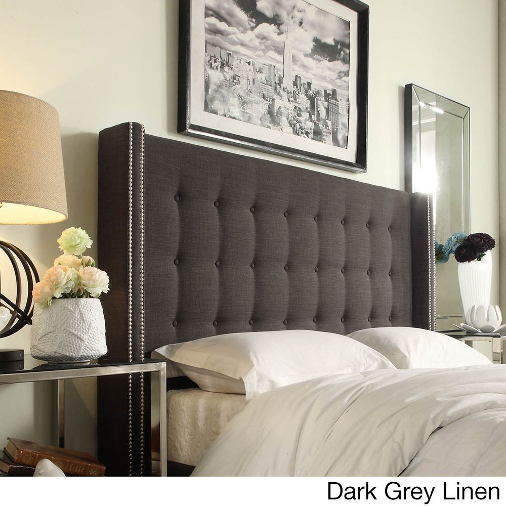 Marion Nailhead Wingback Tufted King Size Headboard by Inspire Q (Faux  Black Alligator PU)
