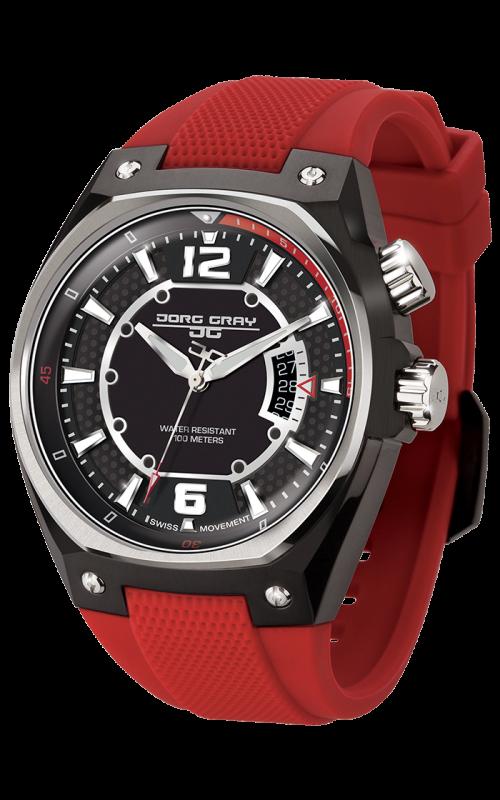 jorg gray jg8300 12 men s watch black dial red silicone strap jorg gray jg8300 12 men s watch black dial red silicone strap swiss movement
