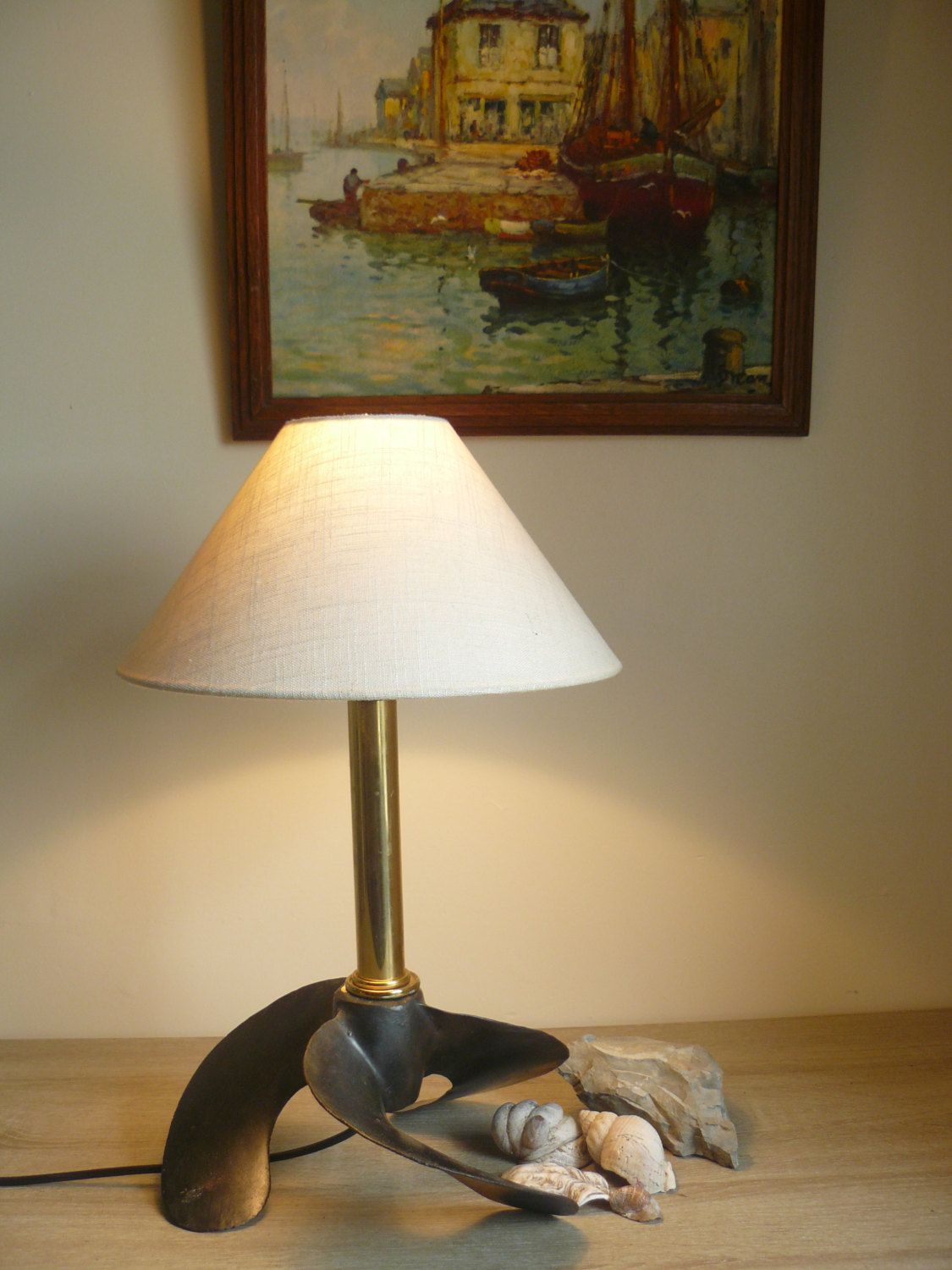 Hey i found this really awesome etsy listing at httpsetsy bespoke handmade boat propeller lamp by twohootsantiques on etsy geotapseo Image collections