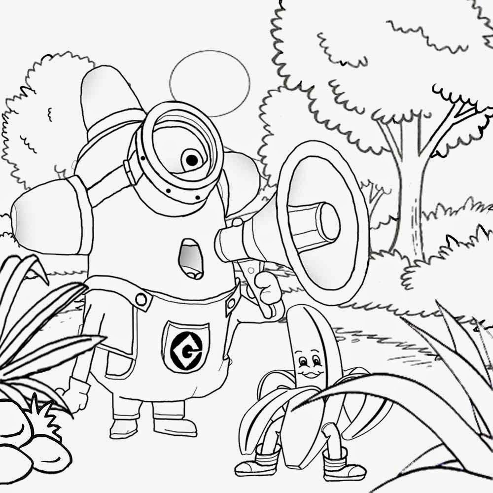 Coloring Pages Minions Banana. Free kids stuff funny cartoon drawing of banana man with one eyed minion  coloring pages to