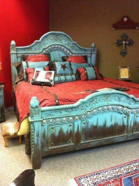 Turquoise Distressed Bed For The Home Red Bedroom