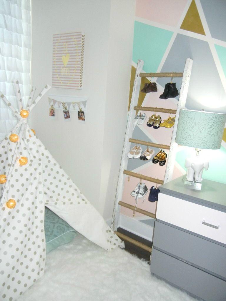 Great, space-saving shoe storage/organization in a nursery!
