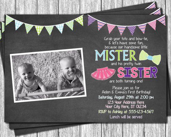birthday invitations twin birthday