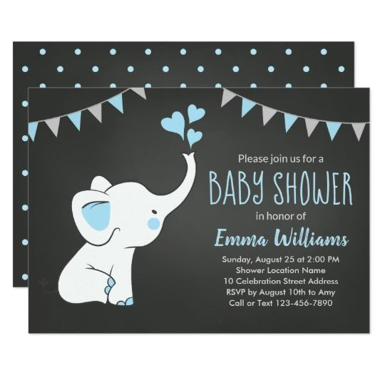 Elephant Baby Shower Invitations For A Boy In 2018 Popular Baby