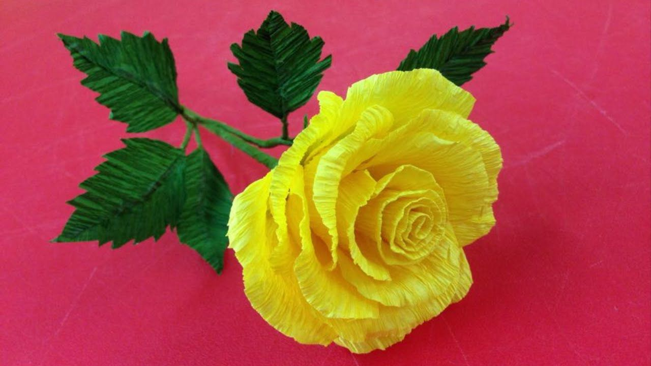 How To Make Rose Crepe Paper Flowers Flower Making Of Crepe Paper