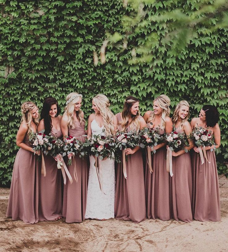 8605c5f069022 Absolutely looooove the colour of the bridesmaids  dresses. Everything  about this is yes. Floor Length Chiffon Sleeveless Bridesmaid Dress Dusty  Rose ...