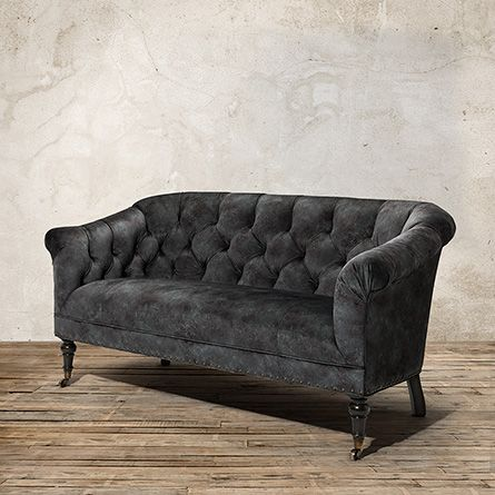Tangier Upholstered Tufted Settee In Mystic Smoke Settees - Arhaus club sofa