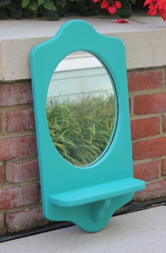 Turquoise Wall Mirror turquoise wall mirror with shelf hand-painted in annie sloan
