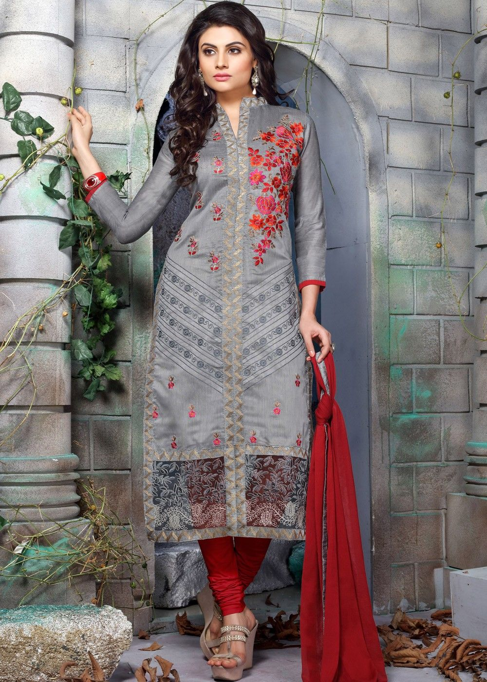 05c16a8c64 Buy Grey Chanderi Cotton Salwar Kameez online, Work: Resham Work, Color:  Grey, Occassion: Casual, Fabric: Chanderi, Style: Straight Cut, 1187SL01