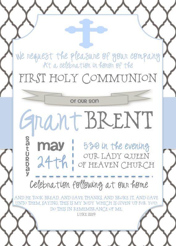 First Communion Invitation by PreppyPrintsLC on Etsy, $15.00