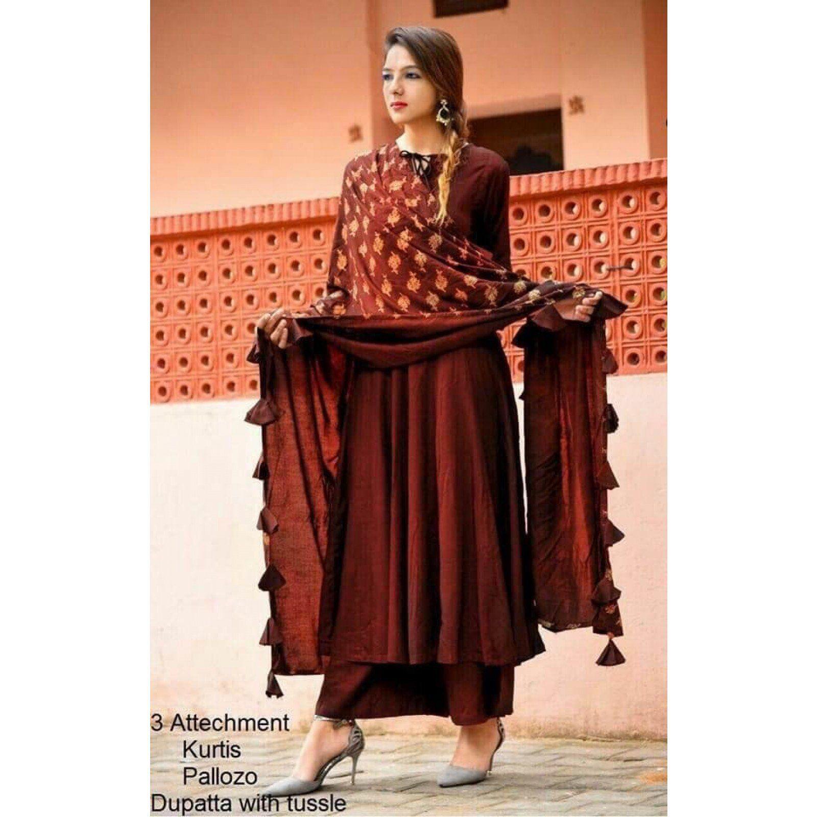 e774d84b6b New maroon color rayon heavy palazzo suit with dupatta. #Palazzosuit  #Designerpalazzosuit #Partywearpalazzosuit #Palazzodress #Zipker