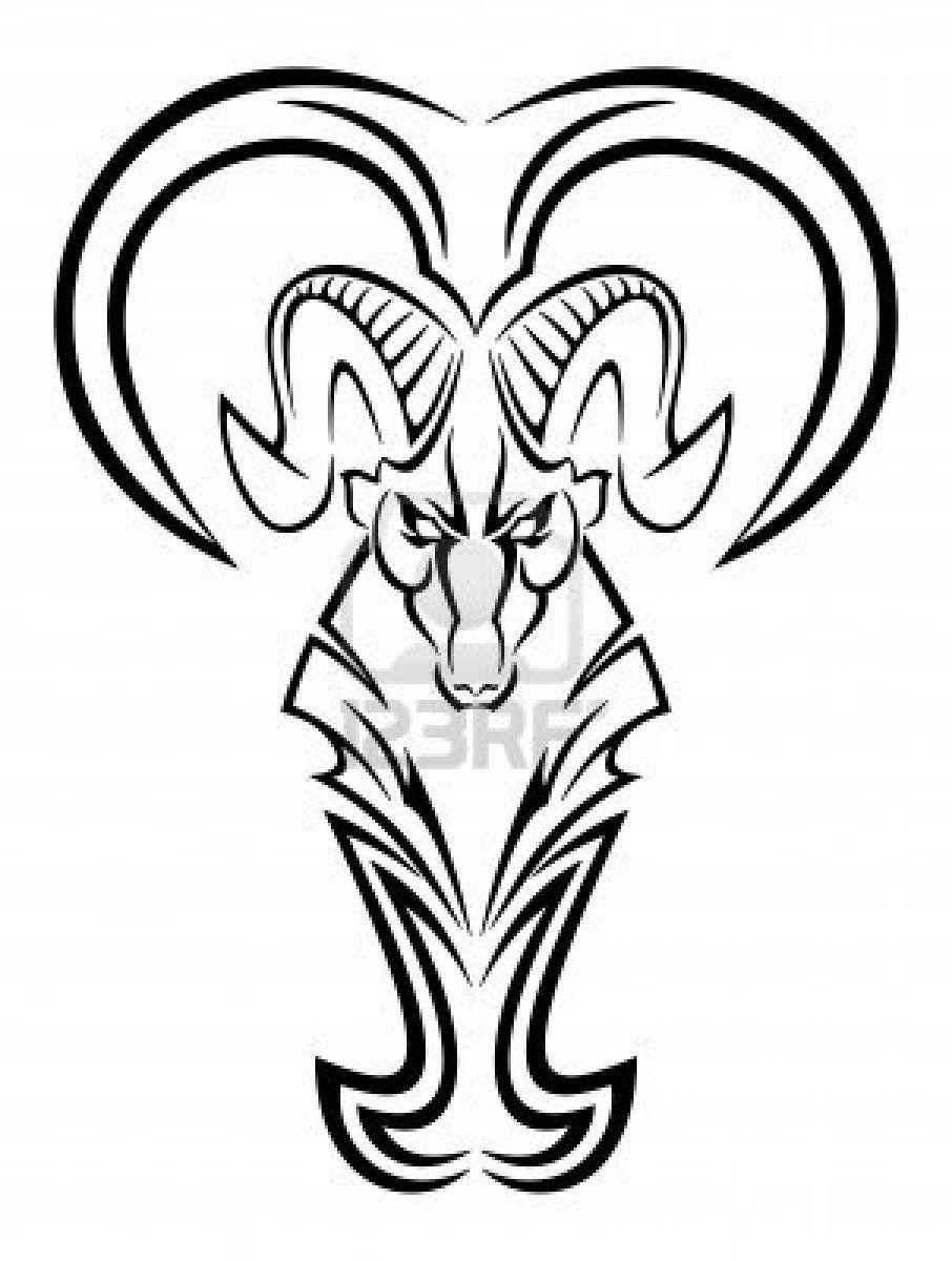 Tribal Zodiac Aries Tattoo Design For Men  Draw