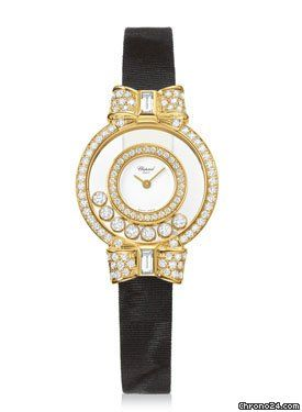 Chopard Happy Diamonds Small $15,670 #Chopard #watch #watches #chronograph 18K yellow gold diamond set case 7 mobile diamonds, white dial, quartz movement