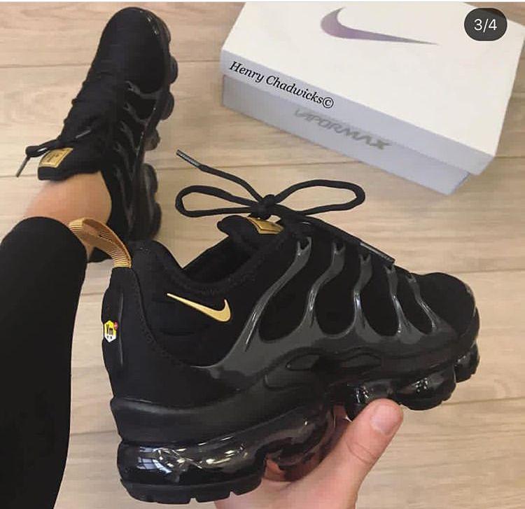 Custom Colored Vapor Max All Black Nike Shoes Gold Nike Shoes Black Nike Shoes