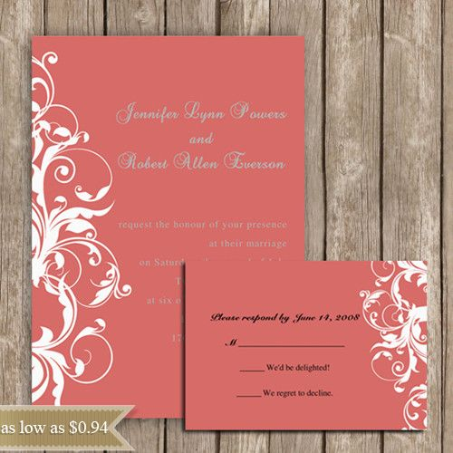 Coral Colored Wedding Invitations: 2014 Wedding Color Trends-Coral Wedding Ideas And