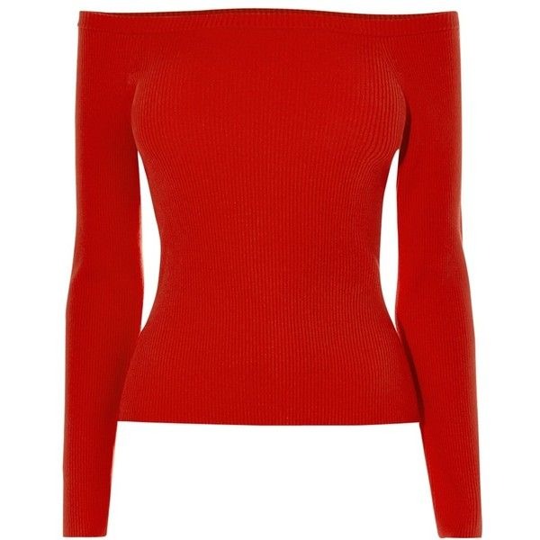 0a7133ffe9c Karen Millen Off The Shoulder Engineered Top, Red ($99) ❤ liked on Polyvore  featuring tops, red top, stretchy tops, red off shoulder top, long sleeve  ...