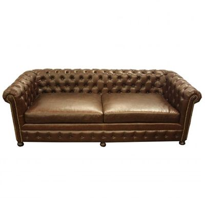 Old World Tuscan Style Tufted Leather Sofa 💕SHOP💕 www.crownjewel.design