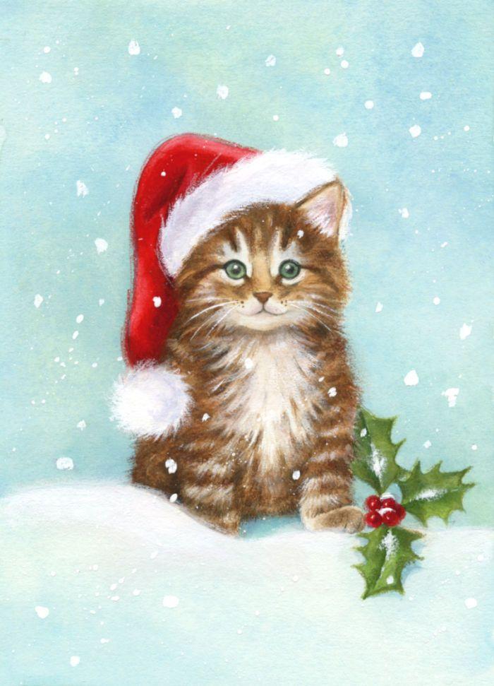 Cat With Santa Hat Christmas Watercolor Art Portrait Gift Pillow