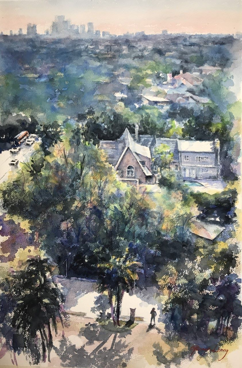 Mansion Watercolor 22 X 15 By George Liang Bird Eye View Of