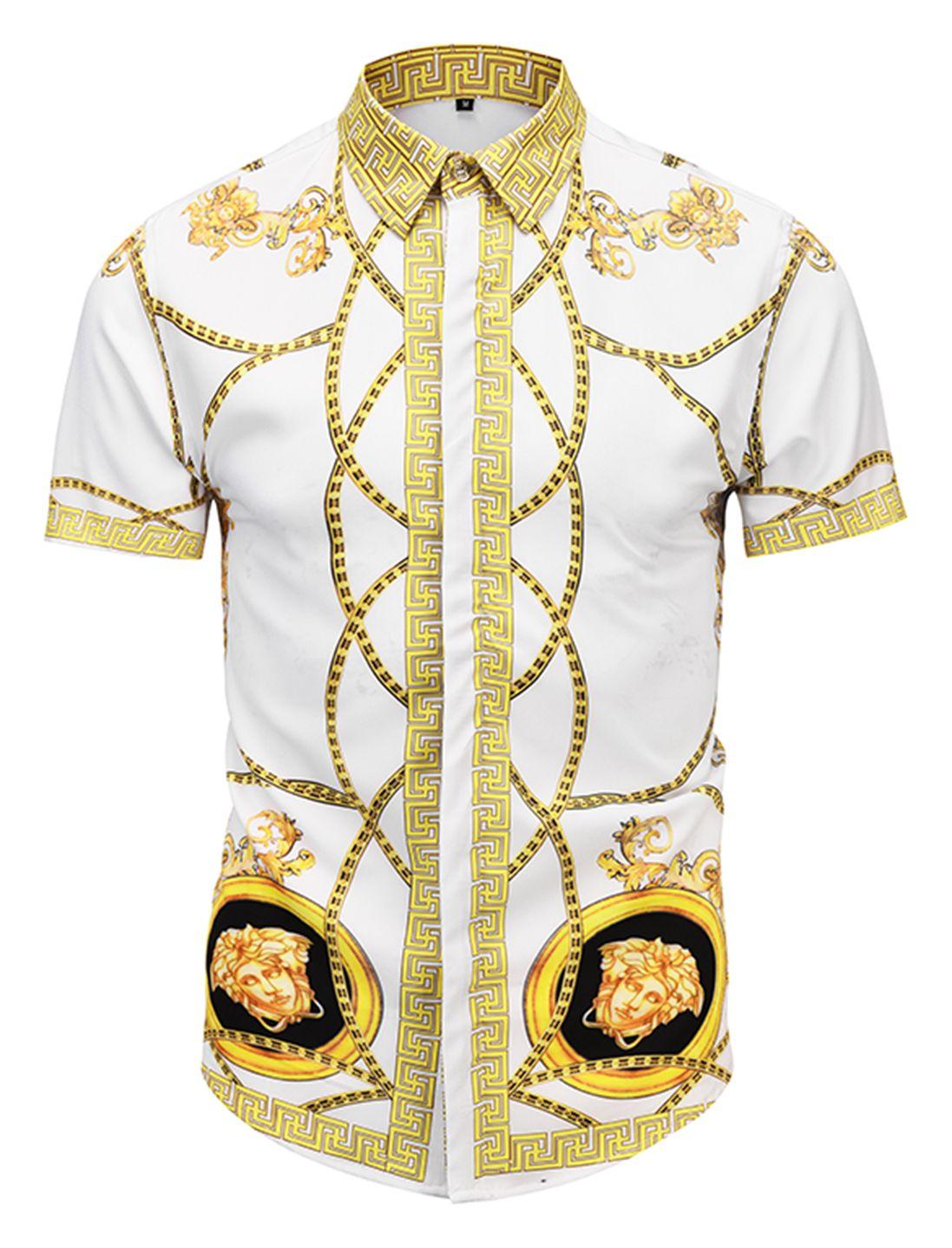 PIZOFF Mens Short Sleeve Baroque Print T-Shirt Shorts Sets